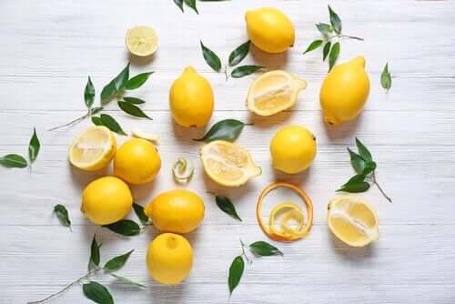 Zitronen und Blumen für die Tischdekoration