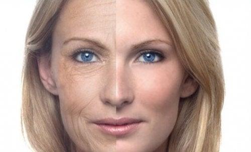 Gesicht einer Frau mit und ohne Falten