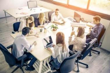 Homeworker bei einem Treffen