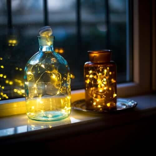 Flasche Lichterkette Lämpchen Glas - Außenleuchten