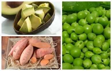 Süßkartoffeln mit Avocados und Erbsen