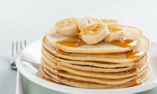 Rezept für Hotcakes mit Bananen, ohne Gluten und ohne Laktose