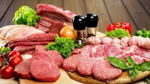 Fleisch - Platte mit rohem Fleisch