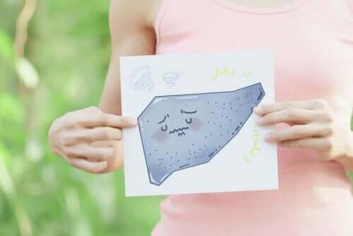 Zirrhose - Zeichnung einer traurigen Leber