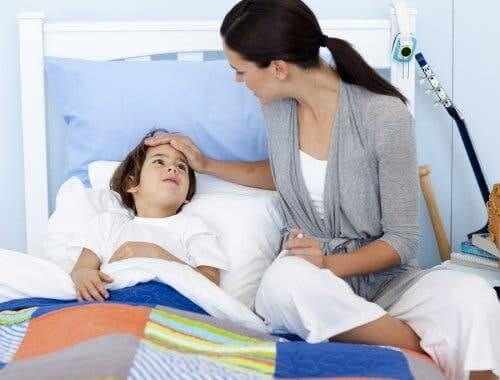 Beschwerden beim Atmen - Kind im Bett