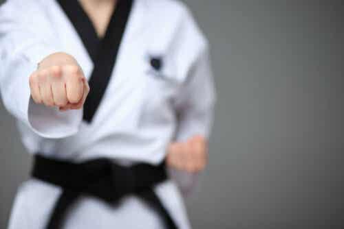 Eine Person, die Kampfkunst praktiziert
