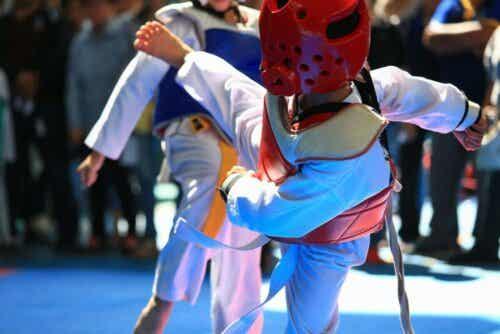 Ein Taekwondo-Kampf