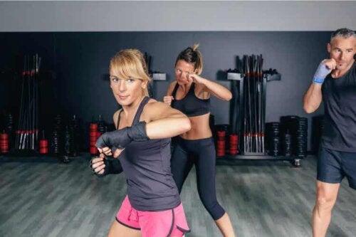 Fitboxen - 3 Sportler beim Training